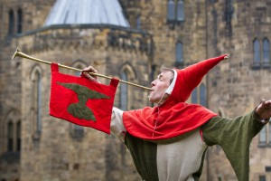 Alnwick Castle with jester