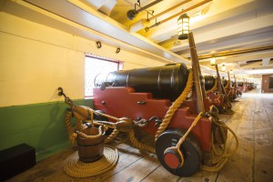 Cannons aboard HMS Trincomalee reduced